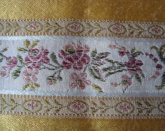 gold tone floral brocaded silk fabric