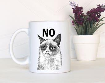 Grumpy cat no, Grumpy cat yes, Grumpy cat mug, Cat lovers gift, Cat lover mug, Crazy cat lady mug, Cat lady mug, Grumpy cat cup