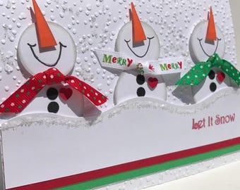 Let it Snow- 3D Snowmen Card, 3D Christmas Card, 3D Holiday Card, Unique Christmas Card, Handmade Christmas Card, Handmade Holiday Card