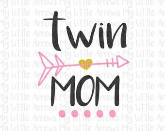 50% off - Twin mom SVG, DXF, EPS, png Files for Cutting Machines Cameo or Cricut // mom of twins svg  // mothers day svg // twinning svg //