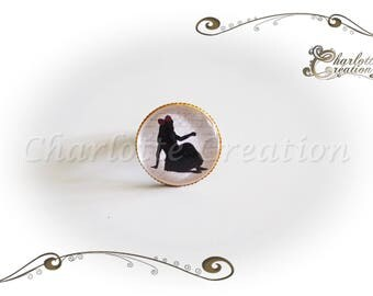 """Round glass cabochon ring """"Alice"""""""