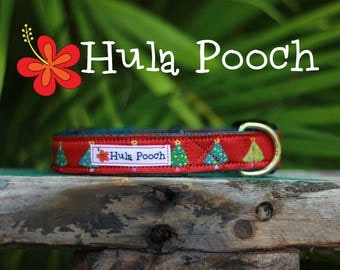 "Christmas Dog Collar / Holiday Dog Collar:  ""Christmas Forrest"" Small, Medium, Large, Wide, Adjustable // FREE SHIPPING"