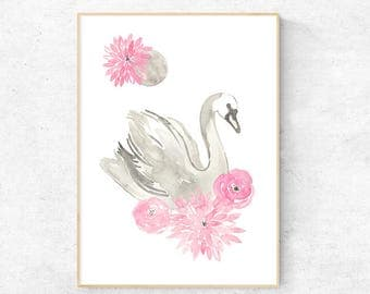 Swan Dreams Watercolour - Digital Download
