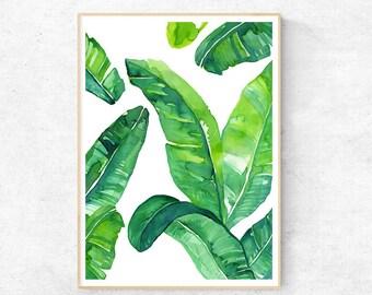 Banana Leaf Tropical Watercolour - Premium Print