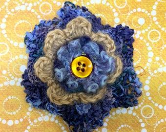 Five layer hand crocheted flower Brooch