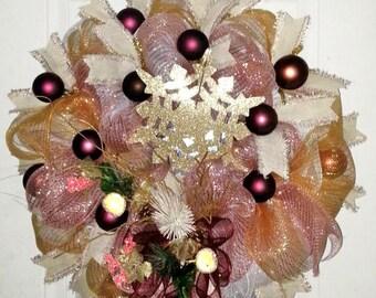 Winter wreath front door, Rose Gold wreath, Victorian Christmas wreath, Holiday wreath, Winter wreath front door, rose gold holiday decor