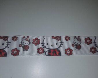 Ribbon hello kitty flower 22mm sold per meter