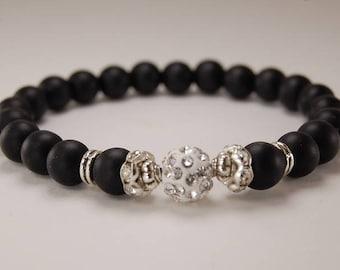 Onyx Bracelet,Middle Disco Ball Bead,Onyx Gemstone 8mm Beads,Man,Woman,Yoga,Prayer,Beaded Bracelet,Black Onyx Bracelet,Gift