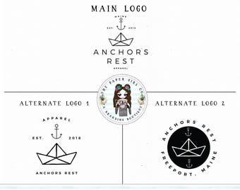 anchor logo nautical logo photography logo ocean logo premade logo branding set