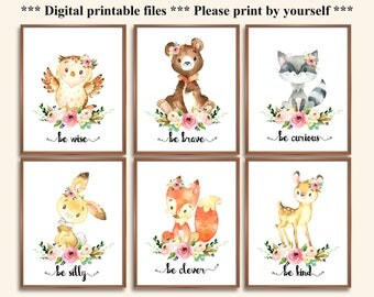 Woodland Animals Floral Nursery Prints, Be Kind Be Brave Be Clever Be Curious Be Silly Be Wise,  Girls Nursery Floral Wall Art