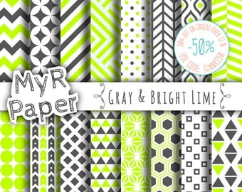 """Geometric Digital Paper Pack: """"Gray & Bright Lime"""" geometric patterns for scrapbooking, invites, cards - printable - Backgrounds"""