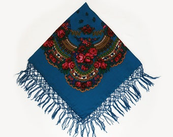 Blue Russian Scarf, Floral Shawl, Blue Wrap Scarf, Chale Russe, Bohemian Scarf, Gifts for Her Under 20, Babushka Shawl, Blue Square Scarf
