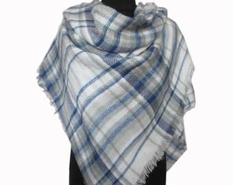 Blue Plaid Scarf, Christmas Gifts for Mom, Checkered Blanket Scarf, Mom Gift, Autumn Scarf, Blue Wrap Shawl, Plaid Fall Scarf