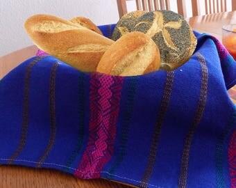 Guatemalan handwoven multi color cotton bread/ tortillas keeper