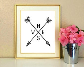 compass north south east west nesw arrows directions dorm - College Apartment Decor
