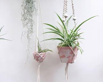 Pink planter, Medium ceramic hanging planter with macrame, indoor planter,  macramé