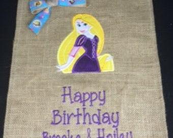 Happy Birthday Rapunzel Snow White Cinderella Beauty and Beast Elsa Anna Princess Strawberry Shortcake Sports Cars Kids Garden Flag