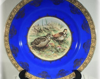 STW Wachtersbach Cobalt Blue with Gold Trim Wood Cock Birds Plate, Bavaria China 1920s