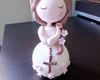 Beautiful doll in cold porcelain, christening, first communion cake decoration
