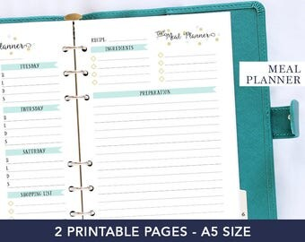 A5 meal planner inserts - Recipe journal - Recipe page template - Planner for mom - Kitchen organization - Diet planner printable - Weekly