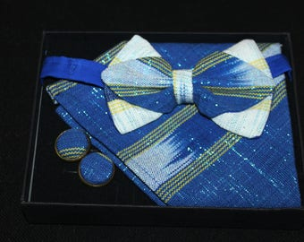 Bow tie Set African Bowtie - tristan box bow-tie, Pocket square & buttons cuff - woven cloth bow