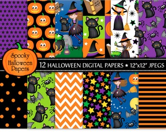 Halloween digital papers, Halloween witch papers, Halloween patterns, Halloween scrapbook papers, Halloween backgrounds, Commercial Use