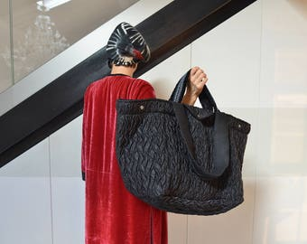 Large black carry  all bag, puffed utility bag, sports bag, weekender, custom name bag, personalized gift.