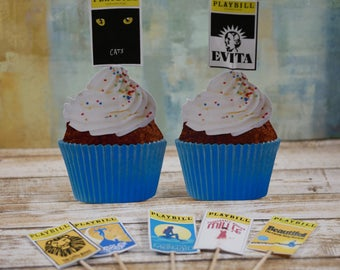 Playbill cupcake toppers, Playbill cupcake picks,Tony Award party theme  cupcake picks, Playbill party