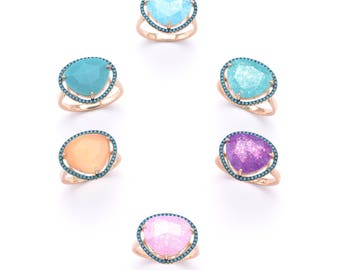 various colors cats eye stone ring, with semiprecious stones, rose gold vermeil, 925 sterling silver
