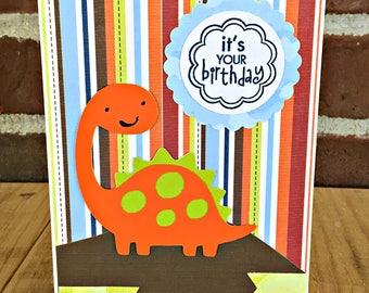 Cute Dinosaur Birthday Card | Birthday Card for Boy | Handmade Card | Kids Birthday Card | Little Boy Birthday | Dinosaur Birthday