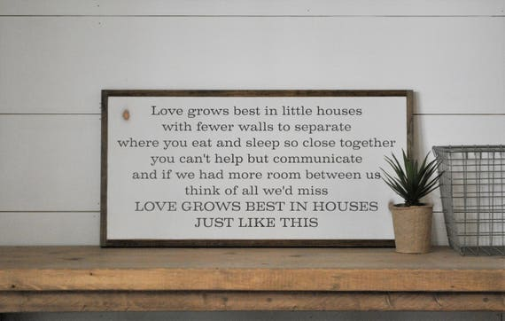 READY TO SHIP! Love grows best in little houses 1'X2' sign | distressed shabby chic wooden sign | painted wall art | elegant farmhouse decor