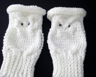 OWL fingerless gloves, white OWL in acrylic