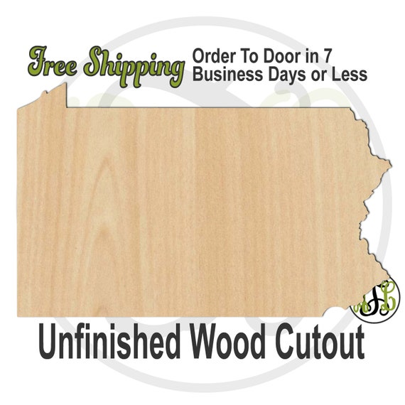 Pennsylvania State- 270034- State Cutout, unfinished, wood cutout, wood craft, laser cut, wood cut out, Door Hanger, United States, wooden