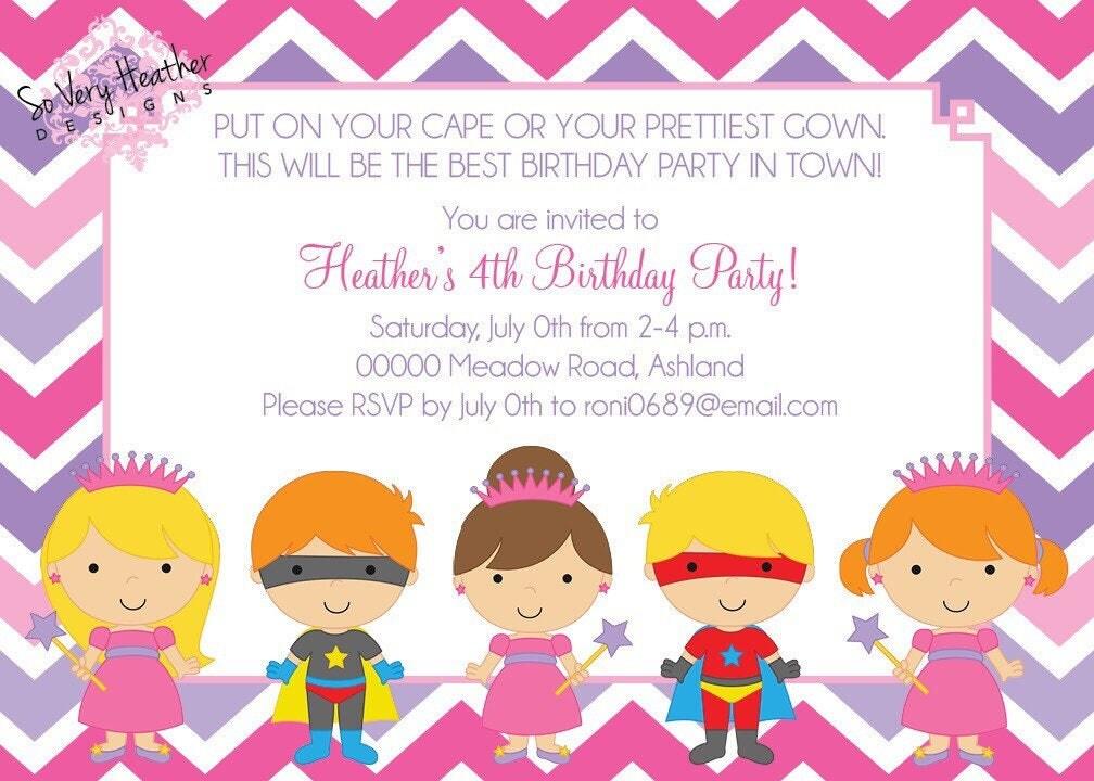 Princesses & Superheroes Birthday Party Invitation - Digital File ...