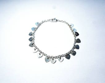 Vintage Silver Bracelet with Little Dangling Heart Charms