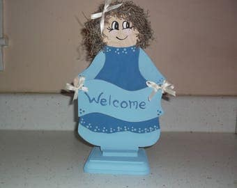 """Wooden Doll, Welcome Wood Doll, Craft Wood, Home Decor, Grandma's  Kitchen, Doll Craft, Gift for Her - 10"""" H x 6"""" W"""
