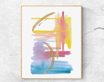 Abstract Watercolor Art Print 1805, Hand-finished With Gold, Contemporary Art Print, Abstract Art, Modern Wall Art, Modern Art Print,
