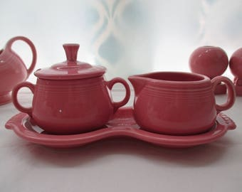 Vintage, Fiestaware, Rose Pink, Sugar and Creamer with Tray, Retired Color. 1980's
