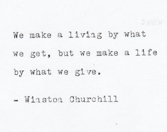 Inspirational Quotes - THE WINSTON CHURCHILL 3 -  Quote Made On Typewriter, Typewriter Quote, Personalized Gift, Gift