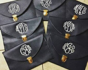 Set of 7 bridal party monogrammed clutches,  bridal party, sorority gifts, wedding party,  birthday gifts, Christmas gifts