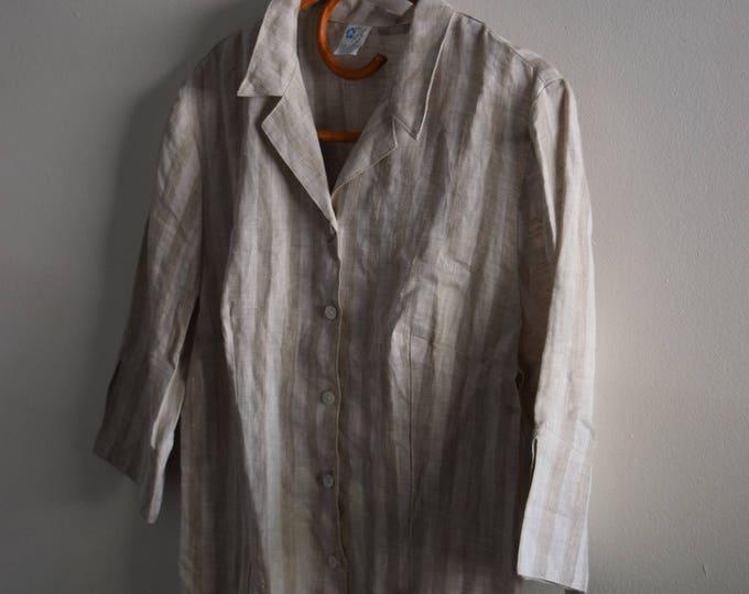 3/4 sleeve striped linen top.