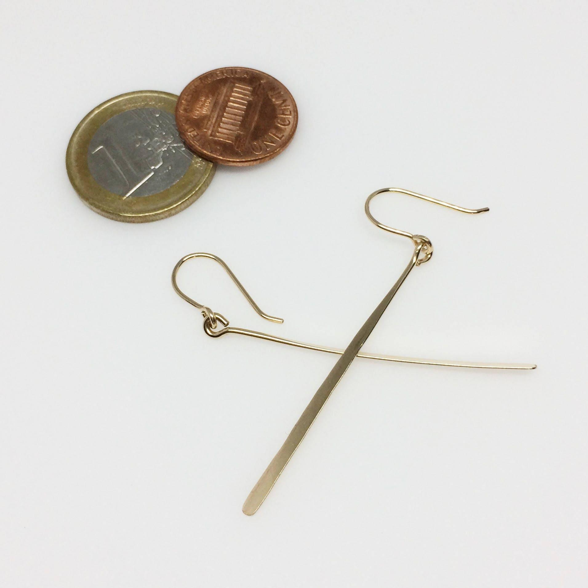 Long Gold Line Earrings, Simple Minimalist Modern Geometric Jewelry ...