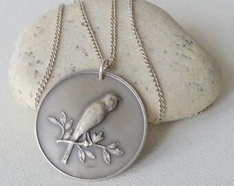 Sterling Silver Bird Necklace Vintage 1957 Bird Pendant, Old Sterling Silver, 835 Sterling Bird Jewelry, Round Bird Medallion 60's Bird