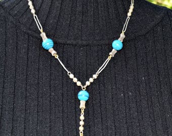 Vintage Necklace Blue and Silver Necklace Glass Bead Necklace Marbled Necklace Vintage Jewelry