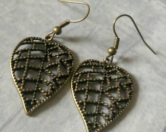 Bronze leaf earrings
