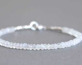 Moonstone Bracelet Bead Bracelet Gemstone Bracelet Stacking Bracelet Gift for Her