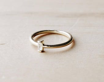 R1084 Gold Vertical Bar Stone Ring, Sterling Silver Ring