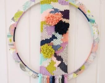 Petal woven wall hanging, wall art, boho tapestry, weaving.