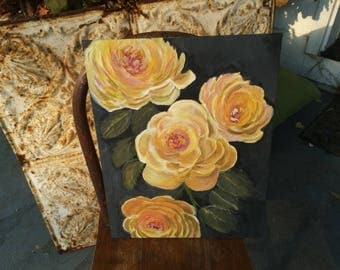 Yellow Roses, floral, garden, original on canvas panel