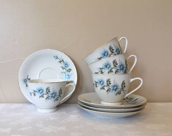 Blue Daisy China Tea Cups & Saucers 4, Made In China, Vintage 1970's to 80's Blue and White China/Dinnerware, Light Blue Daisy Pattern China